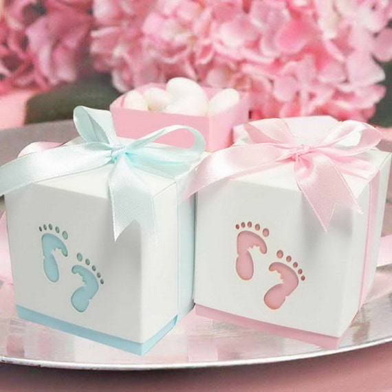 Baby shower thank you gift boxes : Baby shower favour boxes laser cut feet footprints