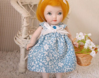 Porcelain Doll SALE 30% off , 5 inch, hand made, blond hair, blue dress