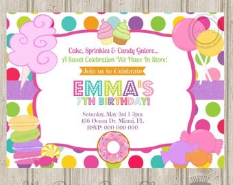 Sweet Shop / Candy / Shoppe / Cupcake / Cake / Sprinkles / Glitter Birthday Party Invitation