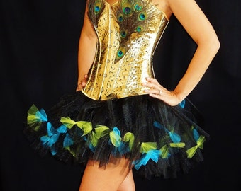 Sexy Peacock Dress Costume Outfit Tutu Unique Adult Any Size Handmade Gold Feathers
