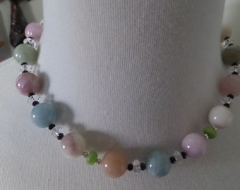 Gorgeous Feminine Pastel Colors in a Choker of Morganite, Peridot, Crystal and Black Spinel with a Matching Bracelet