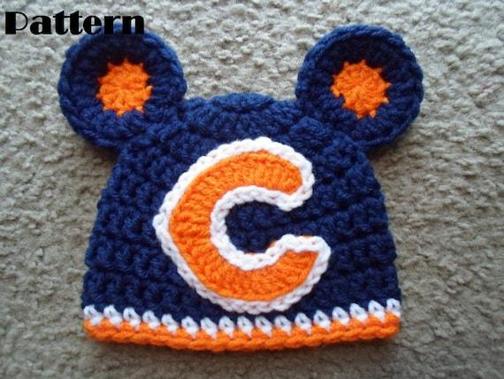 Crochet PDF Pattern. Very cute Chicago Bears Beanie Hat w/