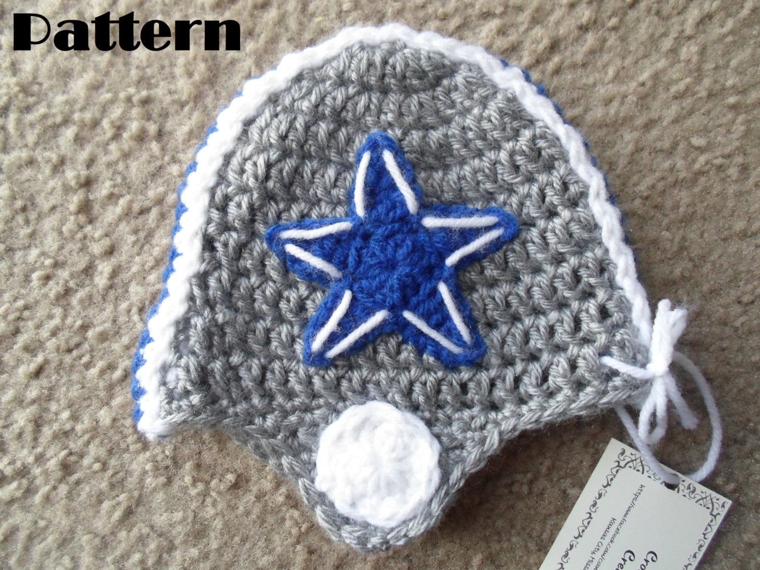 Dallas Cowboys Crochet Baby Hat Pattern : Crochet PDF Pattern Very Cute Dallas Cowboys Helmet Hat for