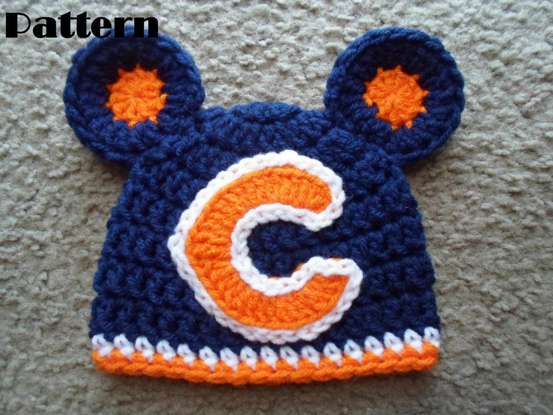 Free Crochet Pattern For Chicago Bears C : Crochet PDF Pattern. Very cute Chicago Bears Beanie Hat w/