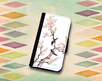 Lovely Birds On A Branch Wallet Phone Case For The iPhone 4/4s, 5/5s, 5c, 6/6s or 6 Plus / 6s Plus.