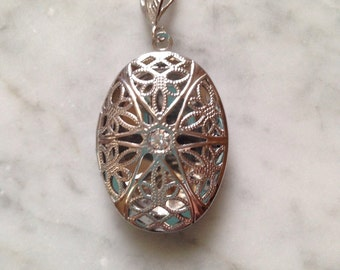 Silver Oval Filigree Locket or Essential Oil Diffuser Comes with Leather pads-Aromatherapy Necklace