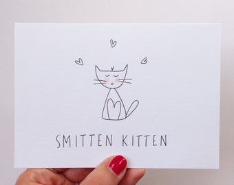 Anniversary Card. Hand illustrated I love you cat card - Smitten kitten