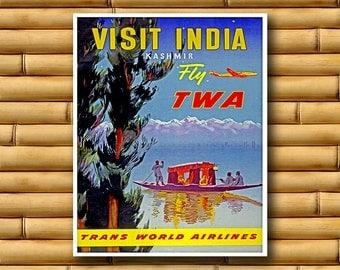 Vintage Travel Poster India Wall Art Print Asian Decor (AJT4)