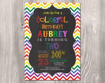 Rainbow Birthday Invitation - Rainbow Birthday Printable Invitation - Rainbow Invitation - Colorful Birthday Invitation - Rainbow Party