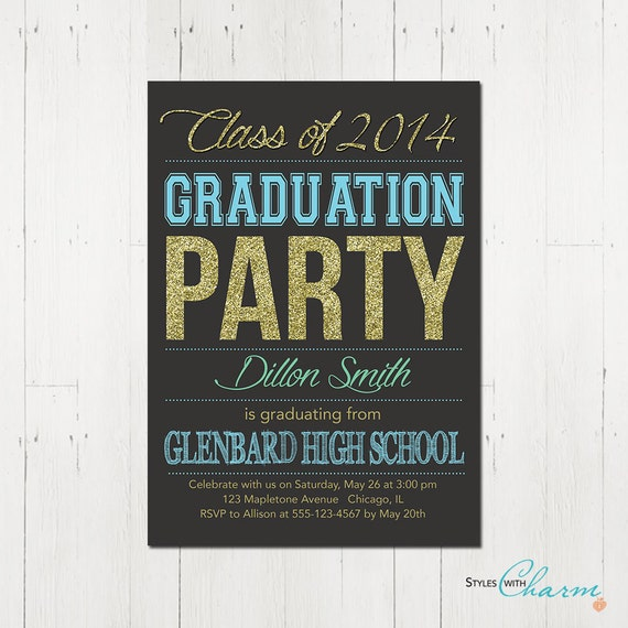 items similar to graduation party invitation blue teal