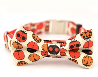 Personalized Dog Collar and Bow Tie Set, Ladybugs,Fabric B25,1 inch wide