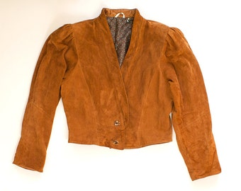 Vintage 70s 80s Light Brown Leather Jacket with Buttons / Size 40 Soft Jacket