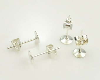 200PC(100 Pairs) Silver Earring Posts Earring Studs Cabochon Ear Studs With Round Pad (nickel free), 5mm Pads.