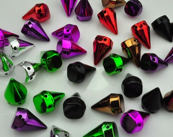 10x15mm ABS Spike Stud--Mixture Colour Spike Bullet Studs Rivets flat back,Qty:100PC