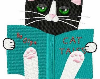Summer Reading Cat Machine Embroidery Design
