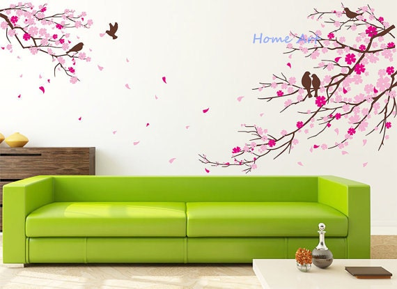 Wall decal sticker decals cherry blossom wall stickers by for Cherry blossom wall mural stencil