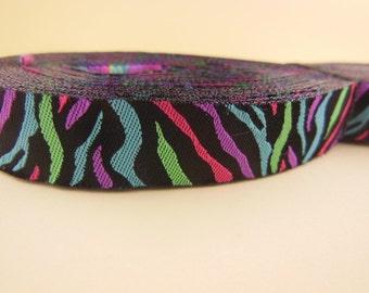 Multicolor Zebra Jacquard Ribbon 5/8'' 10yards