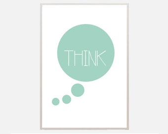 """Poster download """"Think"""" mint green circle text poster quote typography decoration ilustration print living room office bedroom"""
