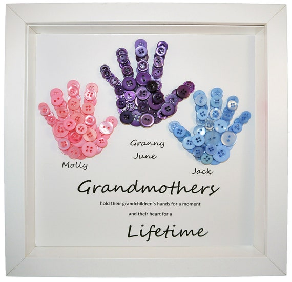 Gift for grandmothers gran button art by craftylittlemonkey14 for Birthday gifts for grandma from granddaughter