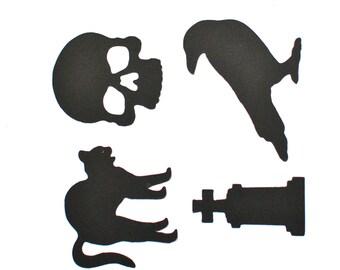 Halloween Die Cuts - Halloween - Black Die Cuts - Black Cat Die Cut - Skull Die Cut - Raven Die Cut - Tombstone Die Cut - Headstone Die Cut