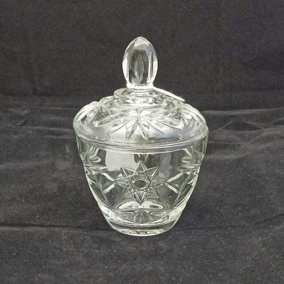 Vintage prescut pressed glass covered sugar bowl s