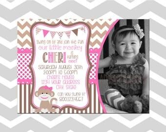 Sock Monkey First Birthday Invitation/Card With Picture Girl Sock Monkey Birthday Party Invitation/Card With Picture