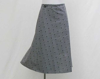 Gray and black skirt, Wrap skirt, a line skirt, retro skirt, geometric skirt, upcycled skirt, op art skirt, size au 12 US 8 UK 10 skirt