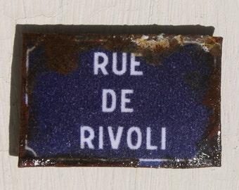 Miniature Dollhouse Tin Paris Street Sign - Rue de Rivoli