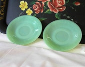 Jadeite Fire King (Jadite) Saucers Jane Ray pattern Set of 2- Vintage Mint Green
