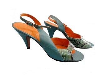 Bottier Azur  Designer Stiletto Heels in turquoise and snake // 90s shoes //  Size us 7 // eu 38.5