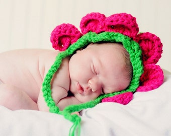 Baby Flower Bonnet Hat Newborn Photo Prop - flower petal hat - Crochet Bonnet Hat - Flower Baby Hat Crochet Petal
