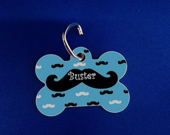 Mustache Pet_ ID Tags_Custom printed dog tags. Add style to your pets ID tags