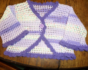 """Little girls Shrug crochet shrug lacy pattern mauve shades Four years 22""""  other colours"""