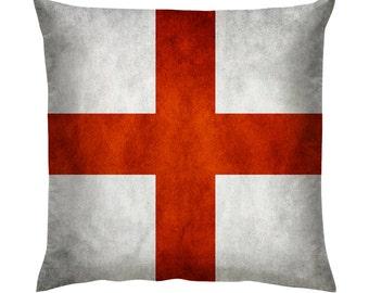 "Saint George Grunge Flag England Cushion/Pillow 18"""