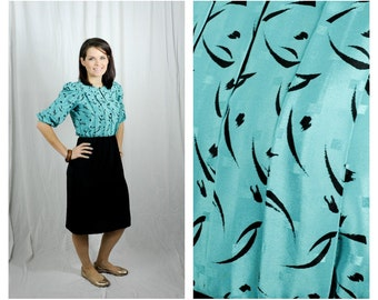 60s Secretary Dress Lady Carol Turquoise & Black 3/4 Sleve Sz XS/S (2-4)