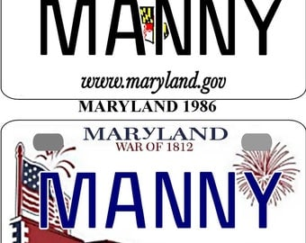 Personalized Maryland 1986, 2010 BICYCLE replica license plate accessory overlaminated