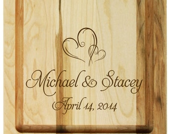 Wedding Hearts Personalized Maple Bread Board or Serving Board, Engraved for a Wedding or Anniversary Gift, or a New Home Gift