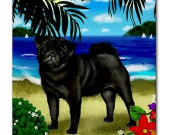 PUG DOG Beach Sea Art Ceramic Tile Coaster