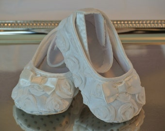 Baby Girl, Off White Satin Rosette Crib Shoes, Christening, Baptism, Wedding, Baby shoes