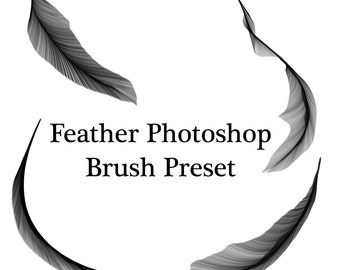 Commercial Use Instant Download Photoshop Brush Preset: Realistic Feathers, hand drawn