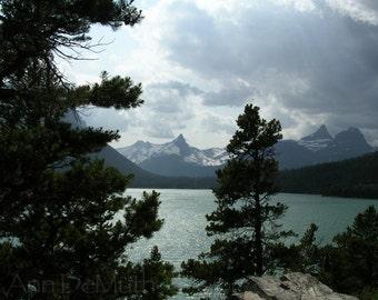 Photography, Glacier National Park Montana, Going to the Sun, Trees Lake, Fine Art Print, turquoise green white Home Decor, 5x7, 8x10, 11x14