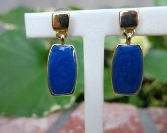 Ernst Gideon Bek Lapis Blue Enamel Earrings, Antique Pierced Gold Tone Earrings
