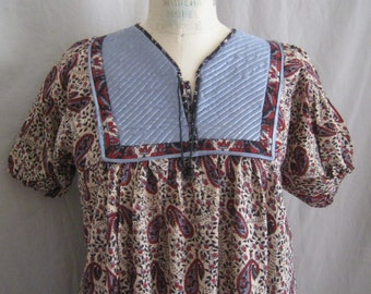 """SALE!! Vintage 70s HIPPIE Boho India Cotton Maxi DRESS Block Print Festival Bust 41"""""""