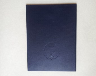 Soviet diploma covers Dark blue faux leather big hardcover with Soviet Lithuania state emblem from Russian USSR era 1970's