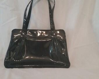 Vintage black patent leather purse