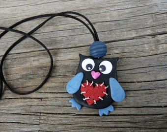 Owl Necklace Jewelry, Teen Owl Bird Necklace, Heart Owl Charm, Black Owl Necklace, Polymer Owl Jewelry, Owl Birthday