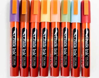 Chalk Markers by Chalk Ink - Wet Wipe Formula in 8 Earthy Colors