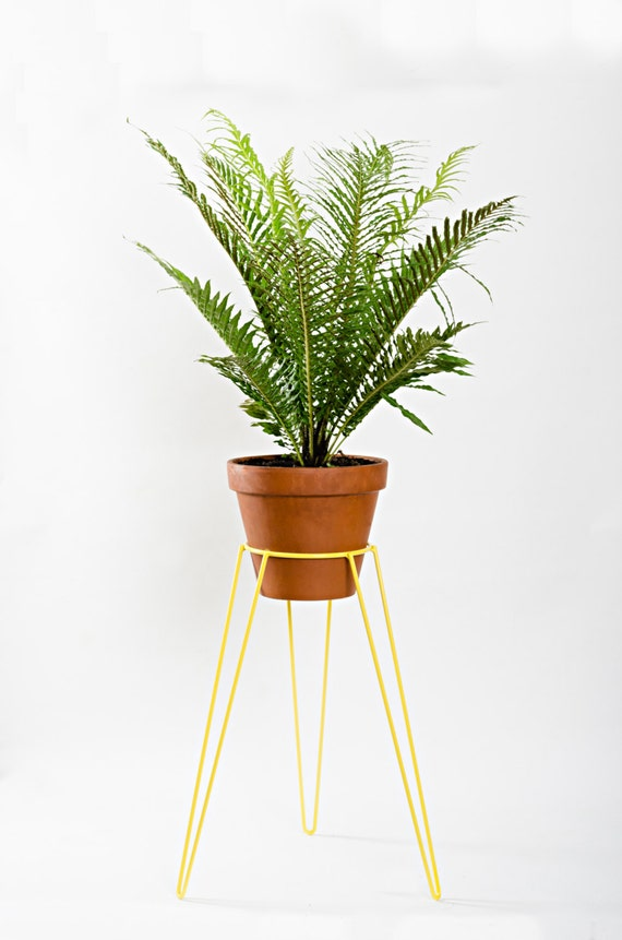yellow metal wire plant stand mid century inspired by wirelyhome. Black Bedroom Furniture Sets. Home Design Ideas