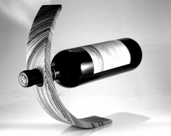 Stunning balancing wine bottle holder - Stained Oak, click for colors
