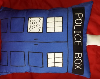 Police Box Pillow, Police Box Plushie, Whovian Pillow, Fandom Gift, Whovian decor